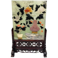 Republic Period Chinese Hard Stone Jade Tea Screen