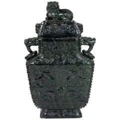 Republic Period, Spinach Jade Urn