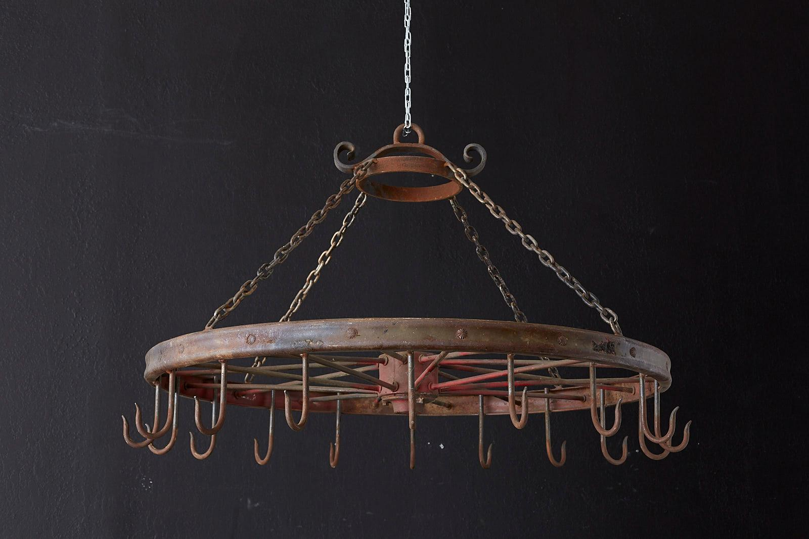 Repurposed American Lafrance Iron Wagon Wheel Pot Rack At 1stdibs