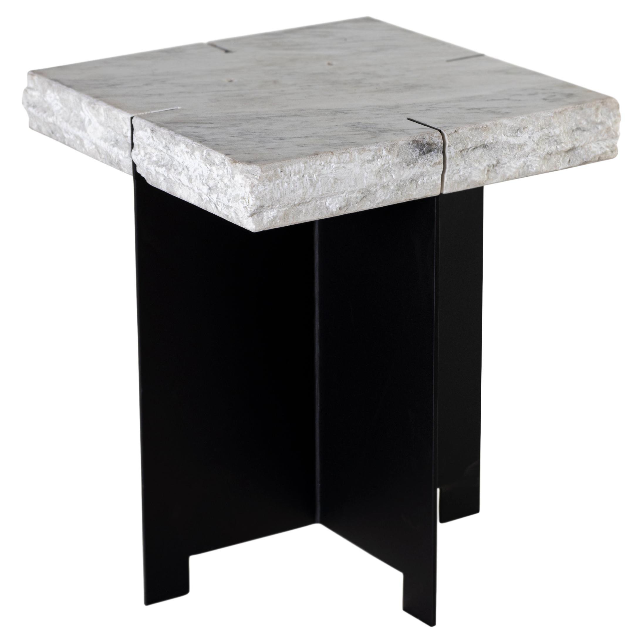 Repurposed Marble Side Table on Blackened Steel Mount