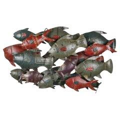 Repurposed Metal Wall Art of Shoals of Fish, 20th Century