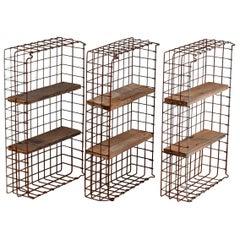 Repurposed Wirework Bread Baskets Shelves, 20th Century