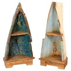 Repurposed Wood Boat Freestanding Shelf Units, 20th Century