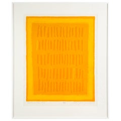 Requiem for a Virgin King by Adja Yunkers, Abstract Lithograph, Yellow, Signed
