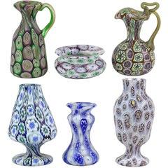Reserved - Fratelli Toso Murano Millefiori Antique Cabinet Vases