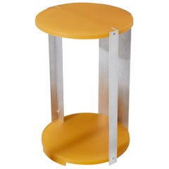 Resin & Aluminium Yellow / Orange Bedside or Side Table