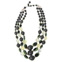 Resin and Lucite 3 Strand Necklace Vintage