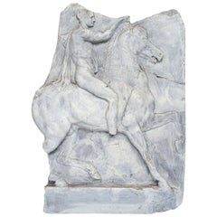 Resin and Paint Relief of an Ancient Roman on Horseback