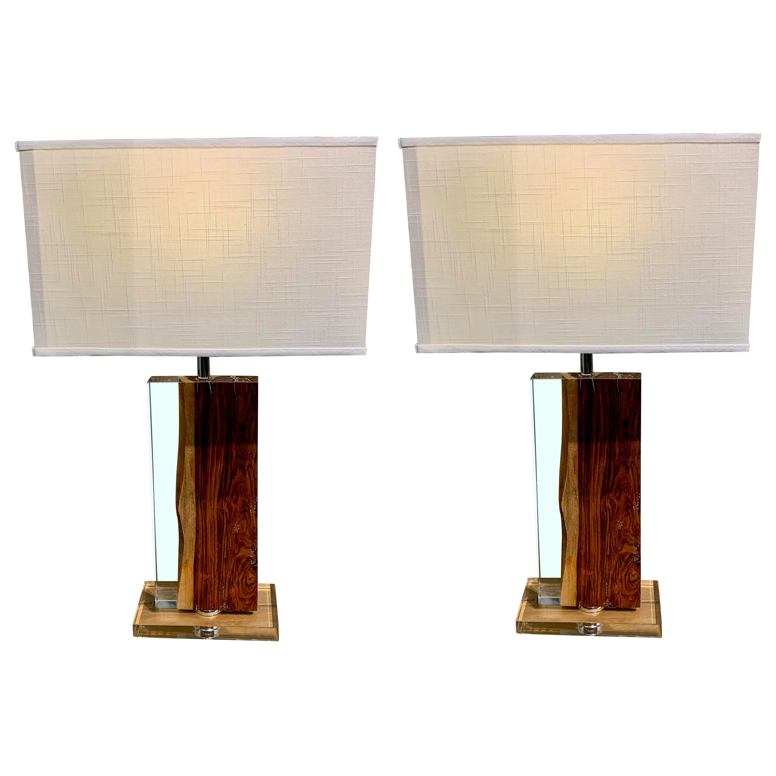 Resin and Palisander Rectangular Shaped Pair of Lamps, Indonesia, Contemporary