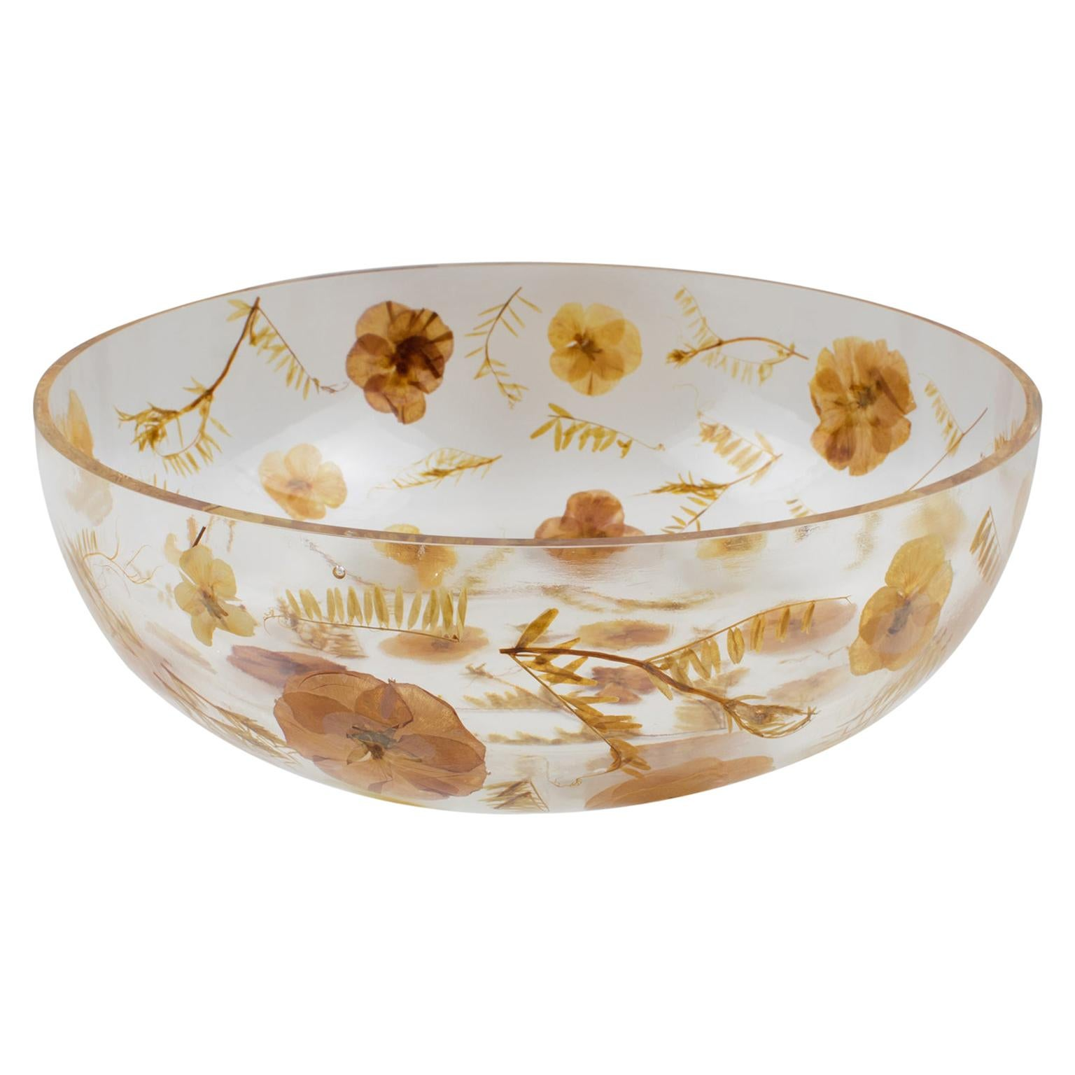 Resin Bowl Centerpiece with Leaves and Flowers Inclusions, Italy 1970