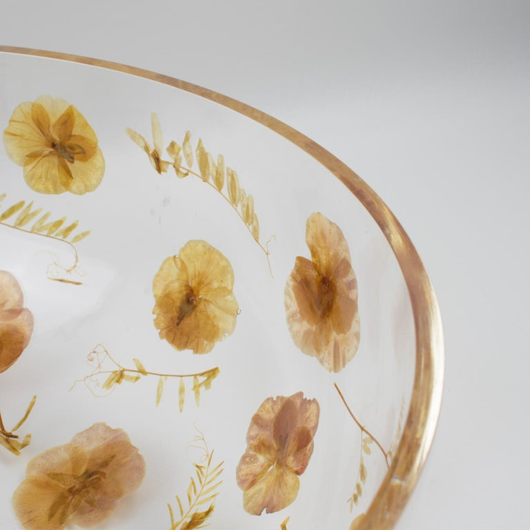 Italian Resin Centerpiece Bowl with Leaves and Flowers Inclusions, Italy 1970 For Sale