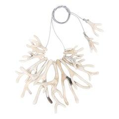 Resin Coral Fan Choker Necklace in Sandy Pearl