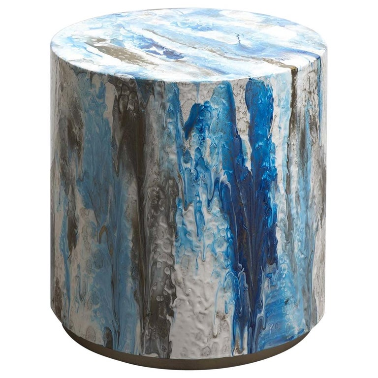Resin Drip Side Table #3 For Sale