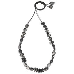 Resin Half Earth Necklace in Black Marble