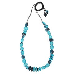 Resin Half Earth Necklace in Moody Blue