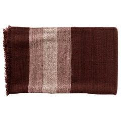 Resin Plush Handloom Queen Size Bedspread In Warm Resin Red In Herringbone Weave