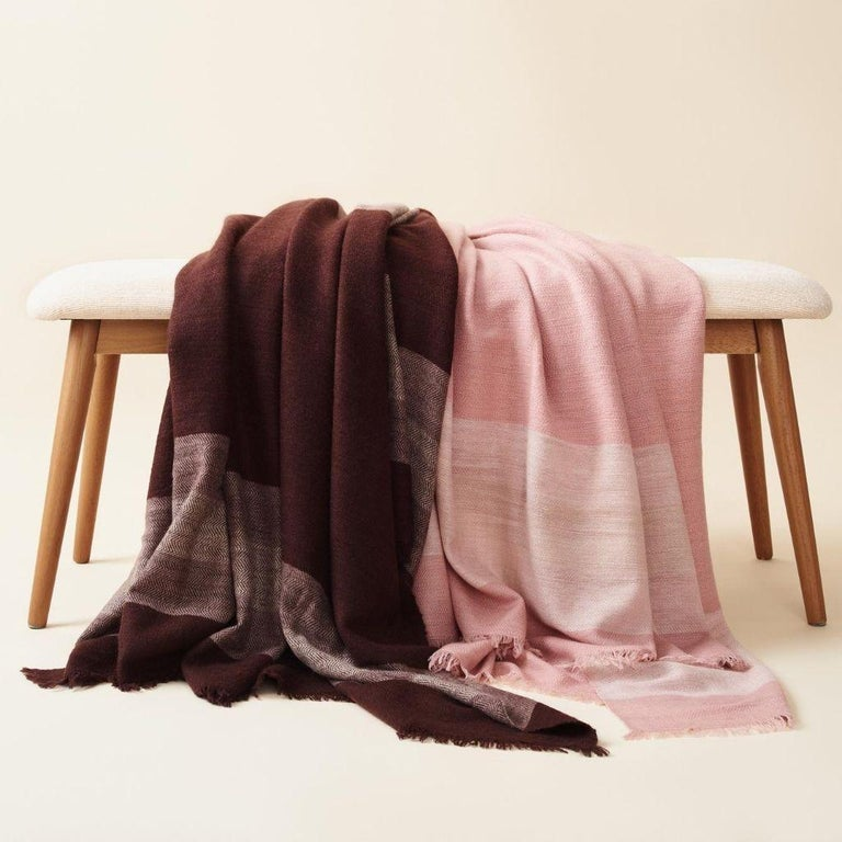 RESIN Plush Handloom Throw / Blanket / Bedspread In Warm Reds, Browns & Cream For Sale 3