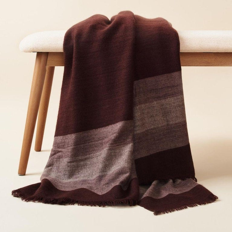 Custom design by Studio Variously, Resin Throw / Blanket / Bedspread is a plush handloom textile ethically woven by master weavers in Nepal and dyed entirely with earth friendly dyes in soft 100% merino yarn.