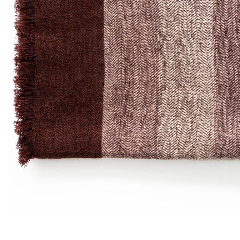 Hand-Woven RESIN Plush Handloom Throw / Blanket / Bedspread In Warm Reds, Browns & Cream For Sale