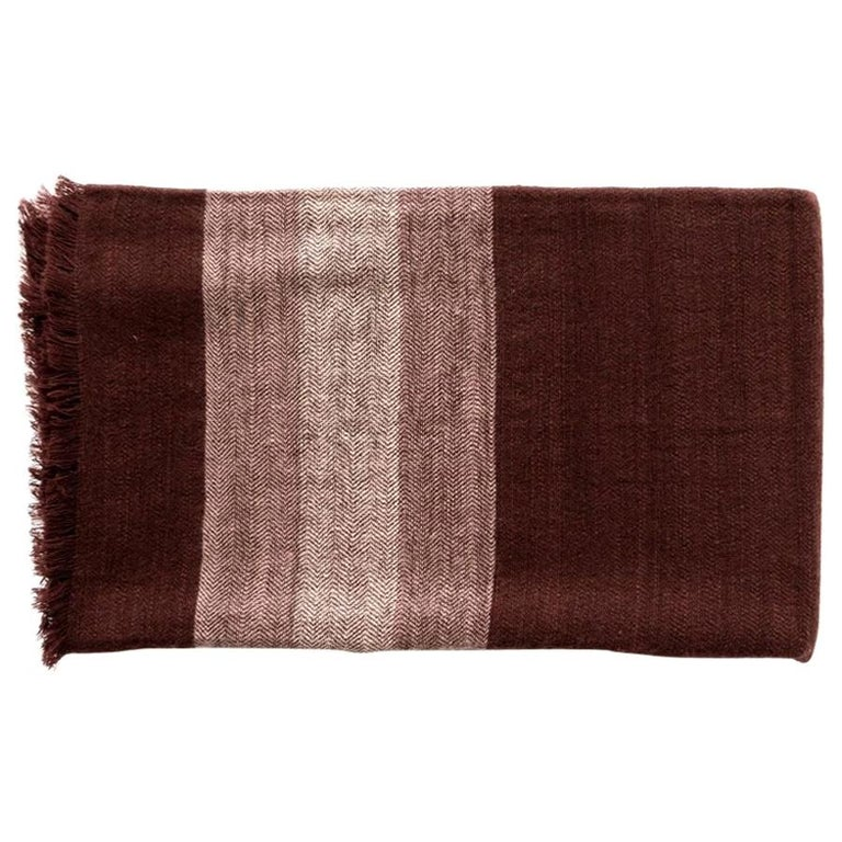 RESIN Plush Handloom Throw / Blanket / Bedspread In Warm Reds, Browns & Cream For Sale