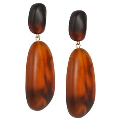 Resin River Rock 2 Drop Earrings in Tortoiseshell