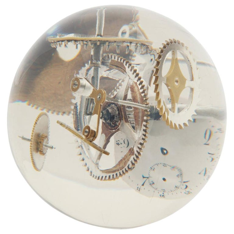 Resin Lucite Sphere with Exploded Watch Parts For Sale