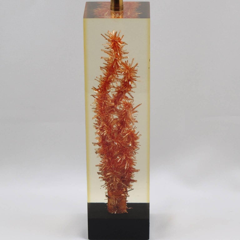 French Pierre Giraudon Resin Table Lamp with Faux Coral Inclusion For Sale