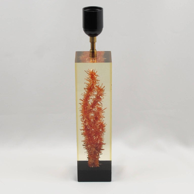 Mid-20th Century Pierre Giraudon Resin Table Lamp with Faux Coral Inclusion For Sale