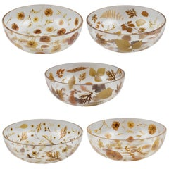 1970s Resin Serving Bowl Leaves and Flowers Inclusions by Resinplast, Italy