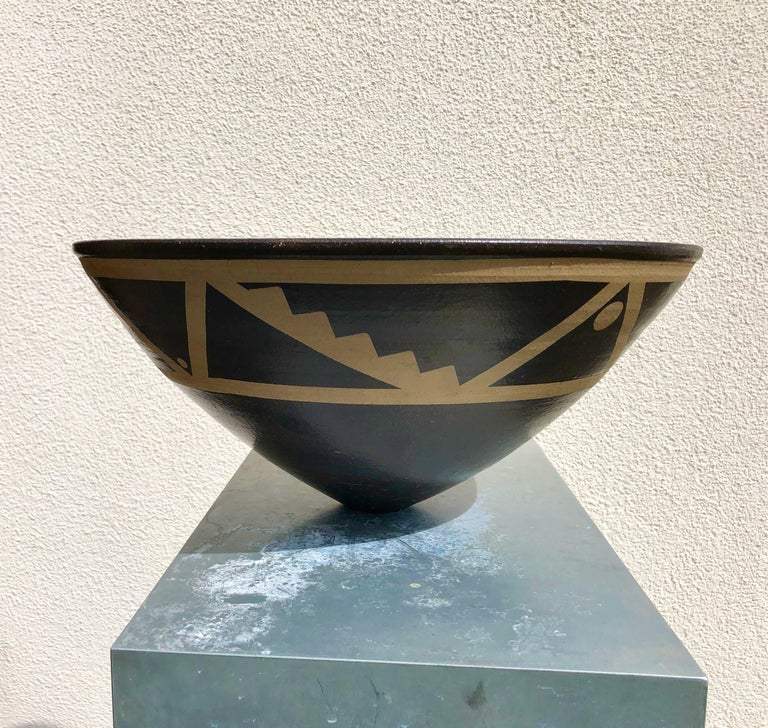 Large stoneware resist decorated bowl from the cliff top studio of Jason Wason. Internationally acclaimed and collected British potter.