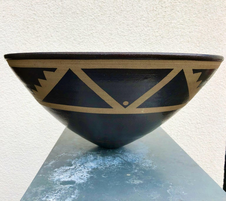 British Resist Decorated Stoneware Bowl by Jason Wason For Sale
