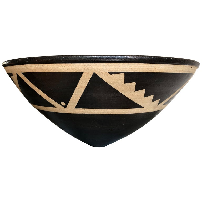 Resist Decorated Stoneware Bowl by Jason Wason For Sale