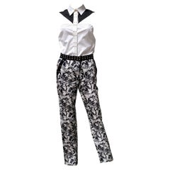 Resort 2012 L#6 NEW VERSACE FLORAL BLACK and WHITE SILK COTTON PANTS SUIT 38 - 2