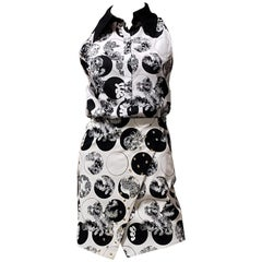 Resort 2012 Look # 4 NEW VERSACE FLORAL BLACK and WHITE COTTON SKIRT SUIT 38 - 2