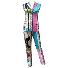 Resort 2013 Look # 4 NEW VERSACE ICONIC PRINT PANT SUIT 38 - 2