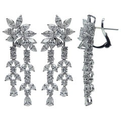 Resplendent 18 Karat White Gold and Diamond Earrings