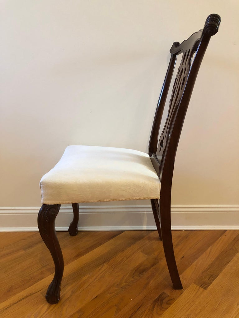 Resplendent Set of 10 Chippendale Style Dining Chairs For Sale 6