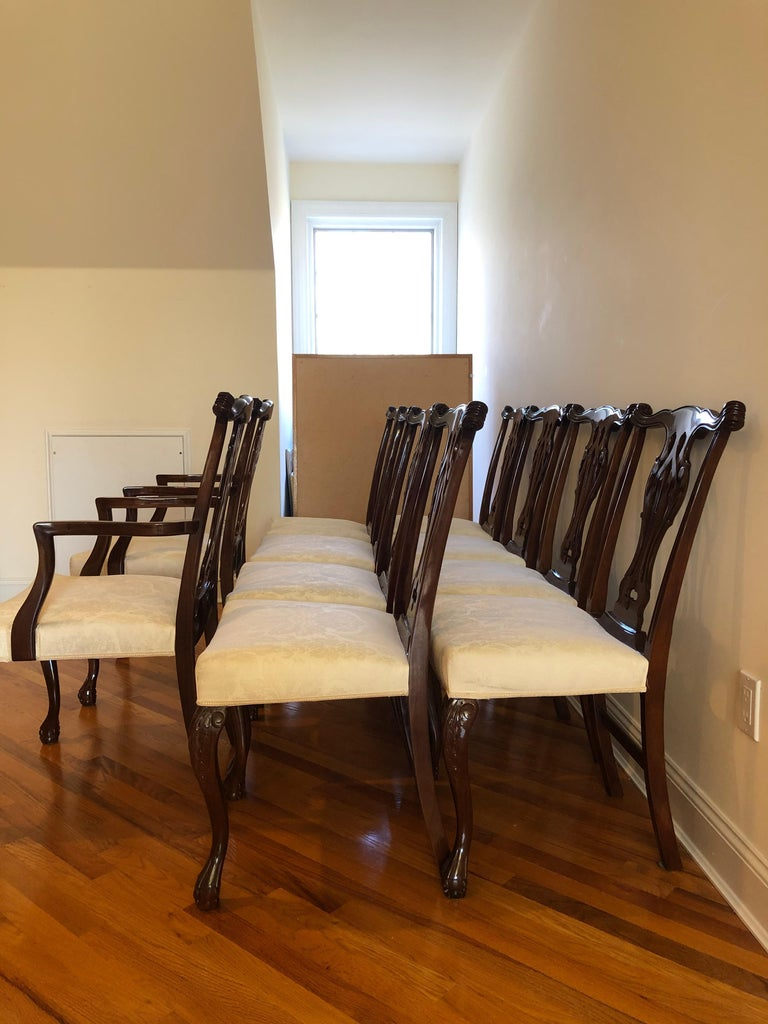 Resplendent Set of 10 Chippendale Style Dining Chairs In Good Condition For Sale In Hopewell, NJ