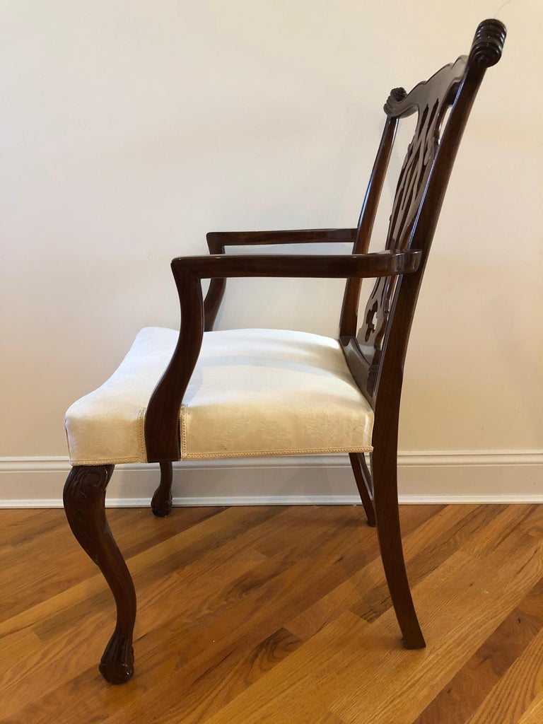 Resplendent Set of 10 Chippendale Style Dining Chairs For Sale 1