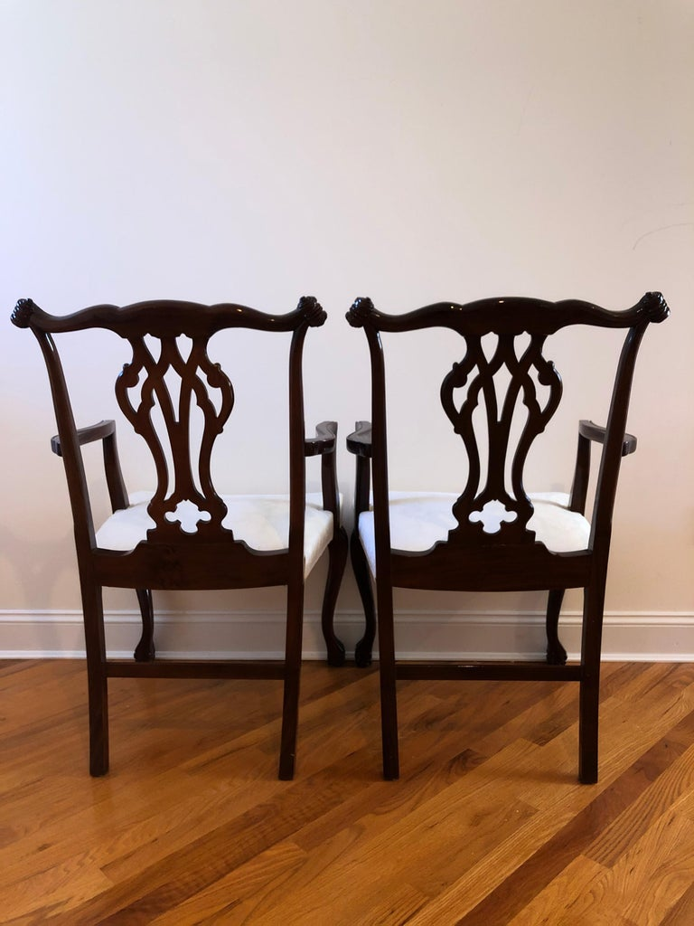 Resplendent Set of 10 Chippendale Style Dining Chairs For Sale 2