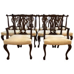 Resplendent Set of 10 Chippendale Style Dining Chairs
