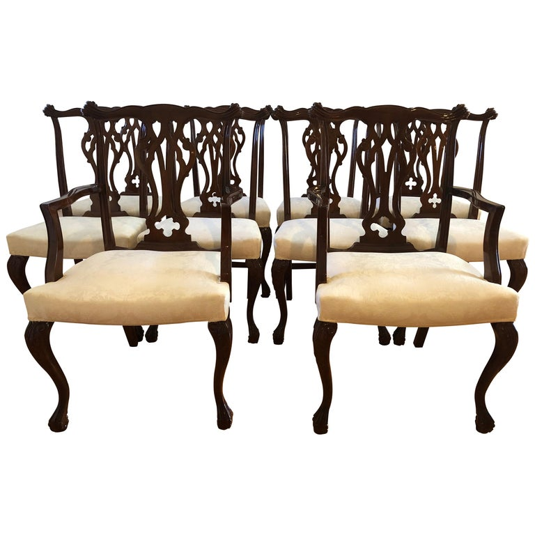 Resplendent Set of 10 Chippendale Style Dining Chairs For Sale