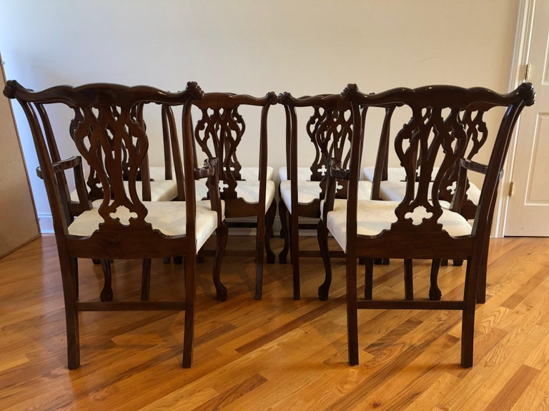 An impressive classically elegant set of 8 Chippendale style hardwood dining chairs bought in Buenos Aires 35 years ago. The wood is Petiribi, a dark mahogany like rich wood used for fine furniture. There are 2 arm chairs and 6 side. Stunning