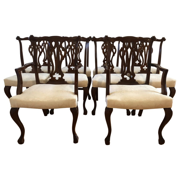 Resplendent Set of 8 Chippendale Style Dining Chairs
