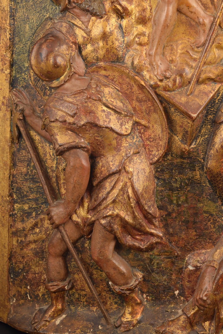 """18th Century and Earlier """"Ressurrection"""", Polychromed Wood, Spanish School, 16th Century For Sale"""