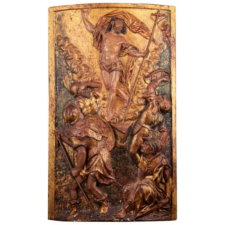 """""""Ressurrection"""", Polychromed Wood, Spanish School, 16th Century For Sale"""