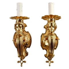 Restauration Antique Wall Lights Decorated with Busts and Lotus Flowers