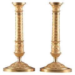 Restauration Bronze Candlesticks in Trajan's Column Style