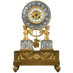 Restauration Crystal and Gilt Bronze Clock with Cupids