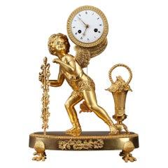 "Restauration Gilt Bronze Clock ""Peddler"""